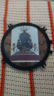 Custom Made Sold Vintage Steam Engine Headlight Lens Holder, Framed Print, Burned Wood Mat