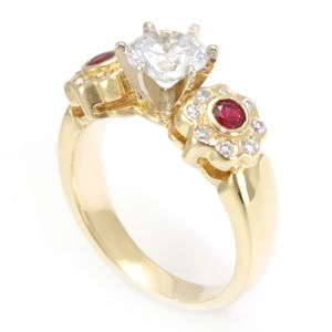 Custom Made 3 Stone Ruby And Diamond Engagement Ring In 14k Yellow Gold, Engagement Ring, July Birthstone Ring