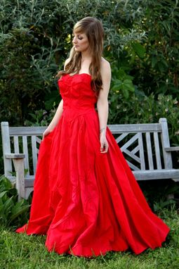 Custom Made Vintage 50s Strapless Prom Dress In Bright Lipstick Red Beaded Ball Gown