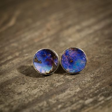 Custom Made Select Galaxy Boulder Opal Rounded Stud Earrings | Size 6mm