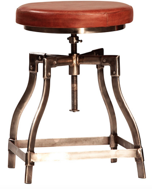 Custom Made Industrial Modern Crome And Leather Stool