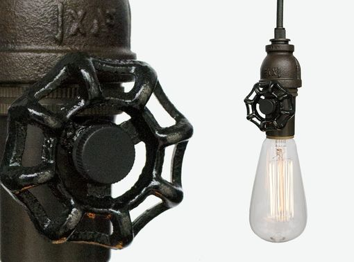 Custom Made Vintage Upcycled Valve Pipe Pendant Light – Bronze