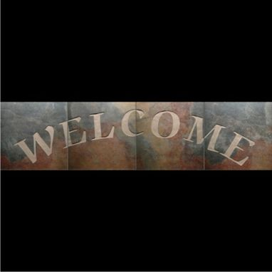 Custom Made Sandblasted Porcelain Tile Welcome Sign