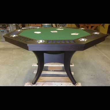 Custom Made Octagonal Black Poker / Game Table With Cup Holders And Curved Pedestal Base
