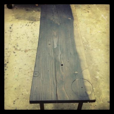 Custom Made River Plank Bench With Drawer