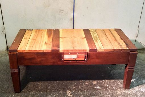 Custom Made Reclaimed, Rebuilt Coffee Table Wth Drawer