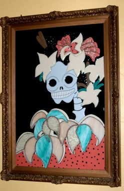 Custom Made Fused Glass Day Of Dead Wall Art - Sophia