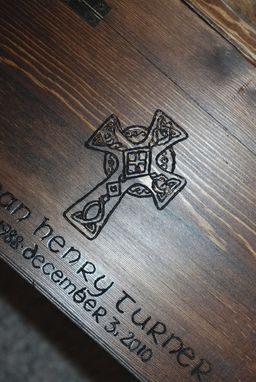Custom Made Custom Engraved  And Burned Wooden Chest