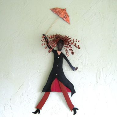 Custom Made Umbrella Lady Metal Wall Art Recycled Metal Sculpture