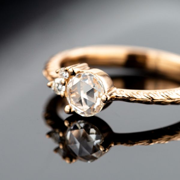 A rose cut diamond is the most popular vintage cut, with a low profile and a distinctive facet pattern.