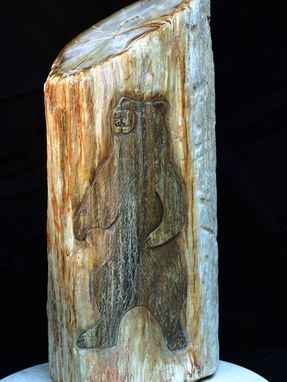 Custom Made Petrified Wood Carving: The Cave Bear
