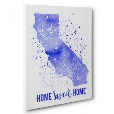 Custom Made Watercolor Paint Splatter California Canvas Wall Art