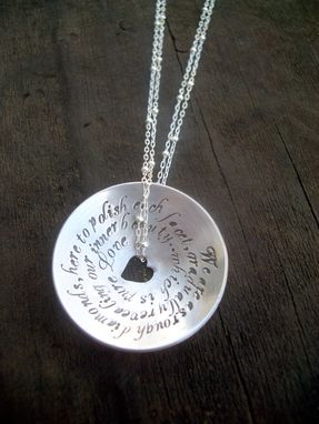Custom Made Domed Pendant With Hand Stamped Quote