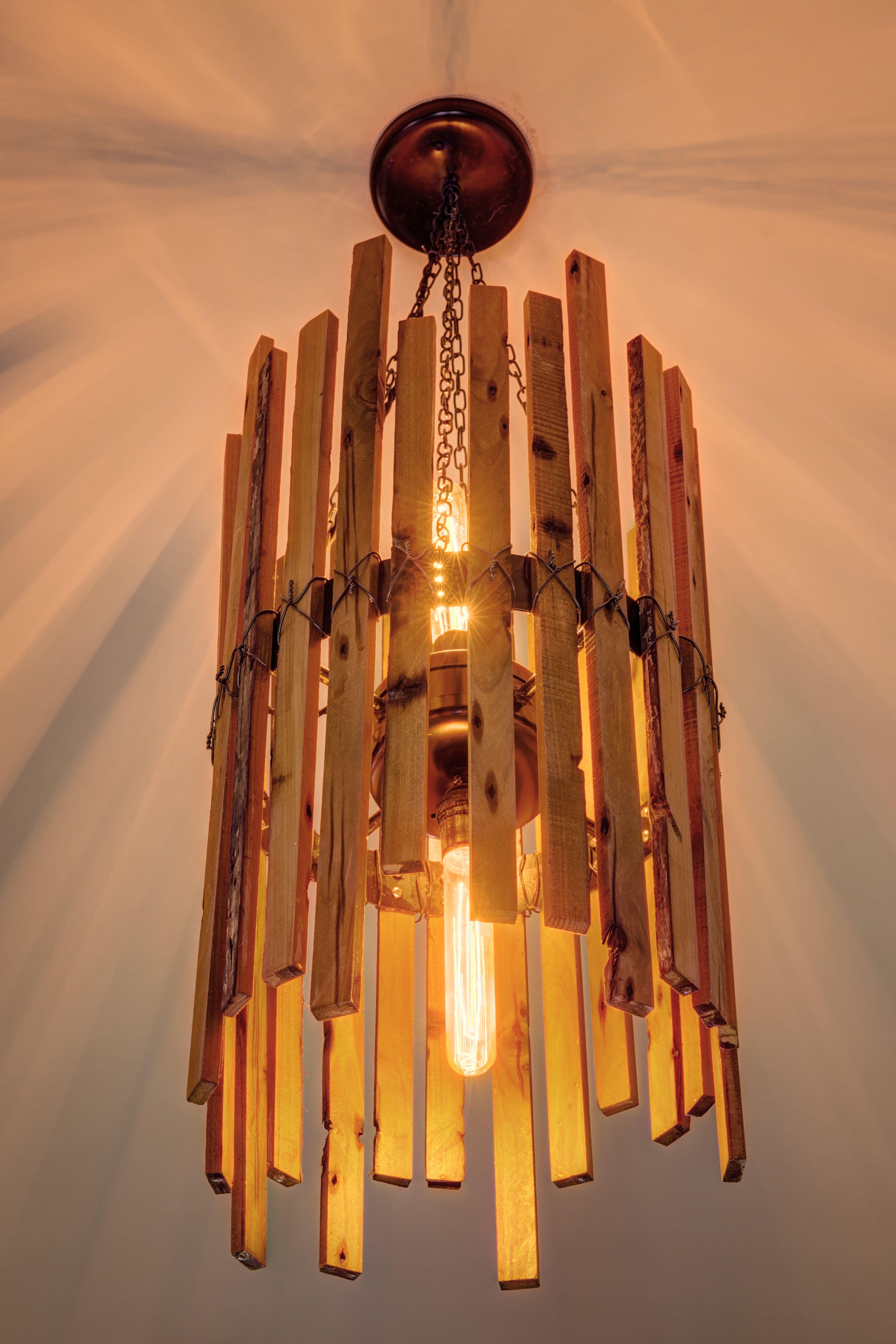Buy hand made rainbow poplar chandelier with edison bulbs made to custom made rainbow poplar chandelier with edison bulbs arubaitofo Choice Image