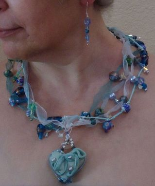 Custom Made Blue Heart Necklace And Earring Set