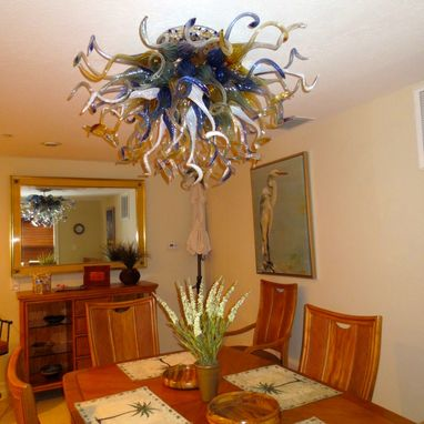Custom Made Hand Blown Glass Chandelier Lighting Amber - Blue - White