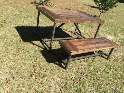 Custom Made Farm Table With Wood Top And Metal Legs!