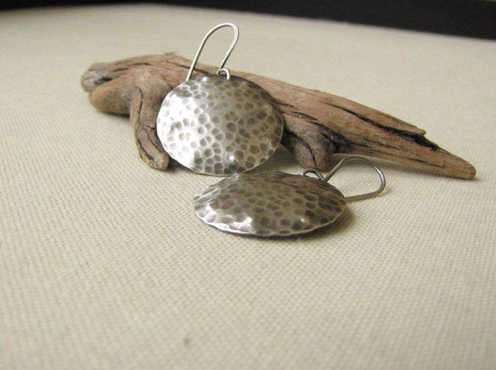 Custom Made Hammered Sterling Silver Disc Earrings