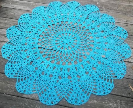 "Custom Made Turquoise Cotton Crochet Rug In Large 42"" Circle Pineapple Lacy Pattern"