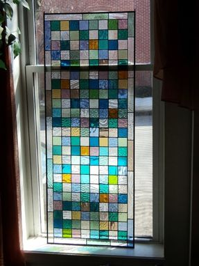 Custom Made Stained Glass Window Panel - Sea Glass Colors  (W-4)
