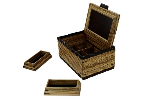 Custom Made Sculpted Men's Valet & Watch Box | Solid Zebrawood And Wenge