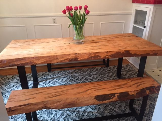 Custom Made Handmade Live Edge Spalted Maple Dining Table
