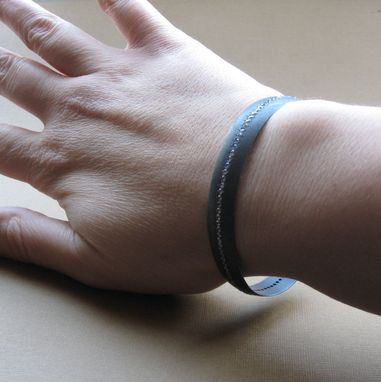 Custom Made Blackened Silver Cuff Bracelet With Cubic Zirconia