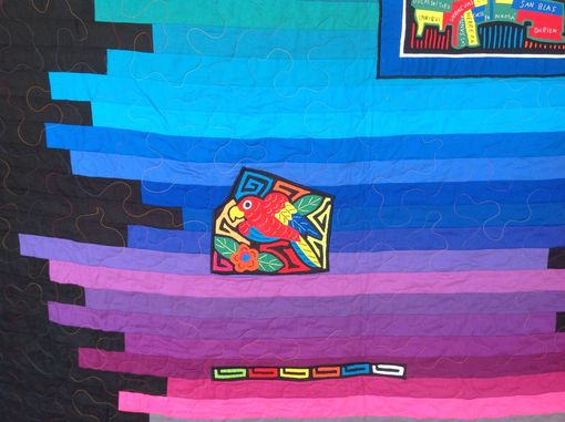 Custom Made Custom Rainbow Ombre Effect Strip Quilt With Appliqued Authentic South American Embroidery