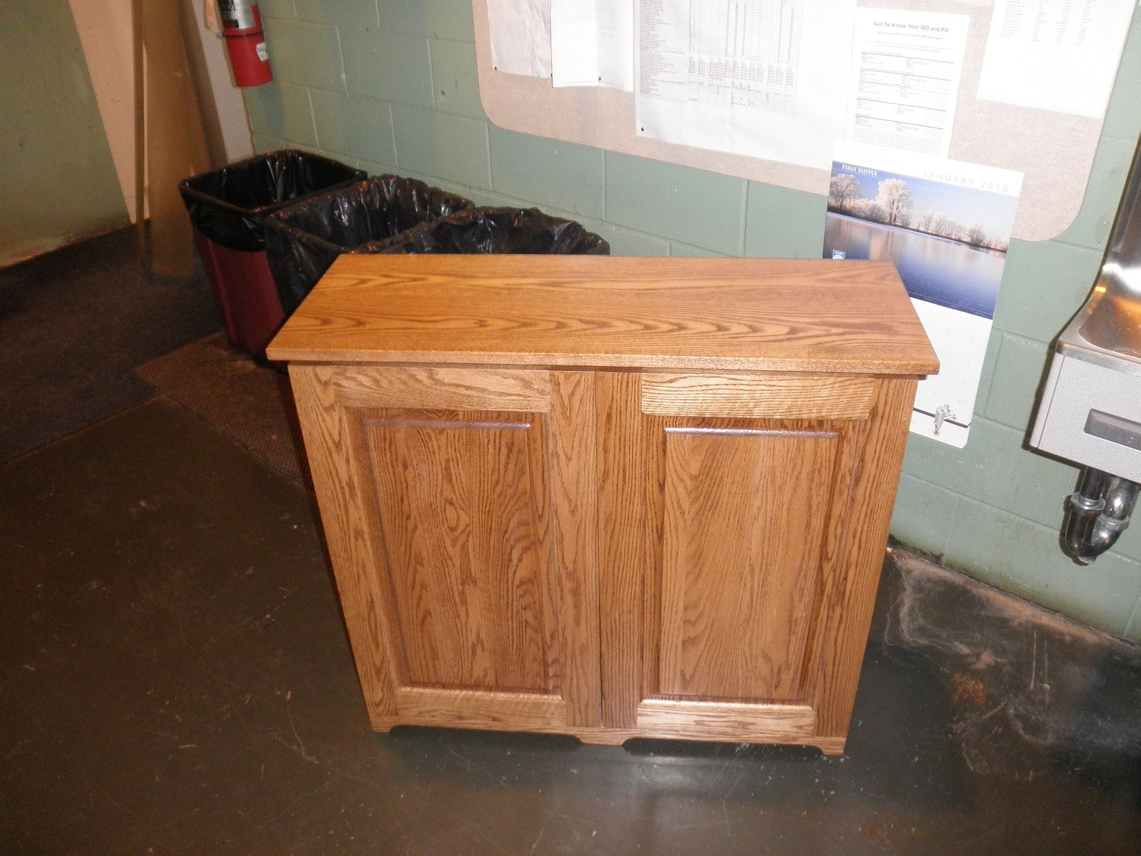 custom made 2 bin trash recycling cabinet by joey 39 s custom woodworking. Black Bedroom Furniture Sets. Home Design Ideas