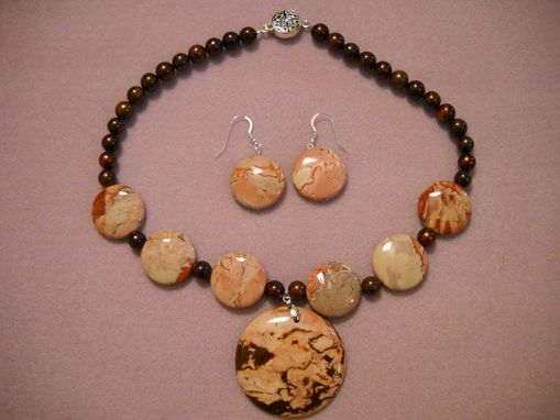 Custom Made Pink And Brown Jasper Necklace