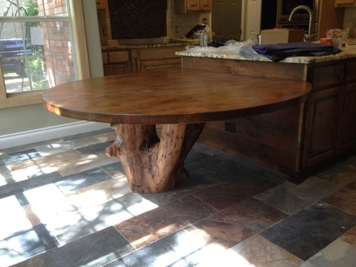 Custom Made Pecan Table Sitting On Pecan Stump