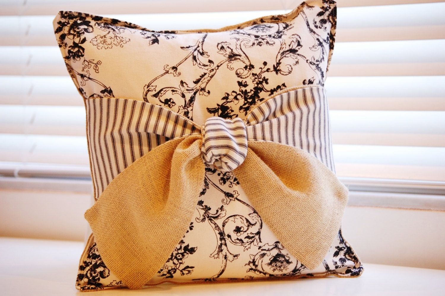 Custom Burlap Bow Pillow With Vintage Toile And French Ticking by ...