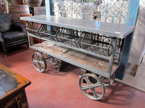 Custom Made Industrial Iron Trolley Cart | Console Table