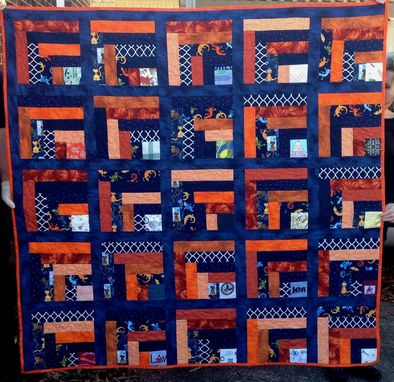 "Custom Made Custom Log Cabin Style Quilt Using ""Maggie's Rainbow"" Pattern By Fons And Porter"