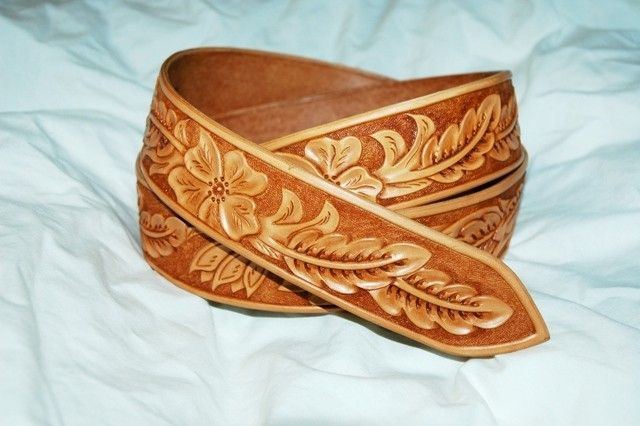 Hand Made Custom Hand Tooled Leather Belt By Lone Tree