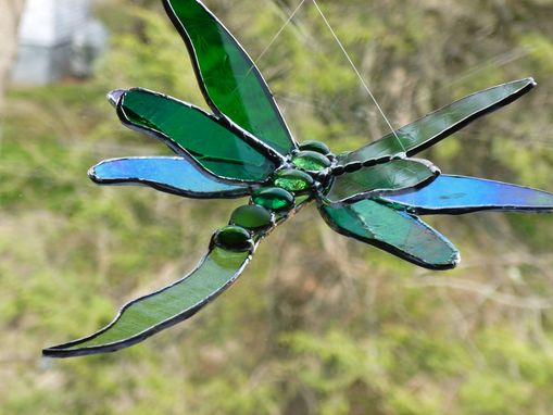 Custom Made Double Winged Dragonfly Stained Glass Art In Green