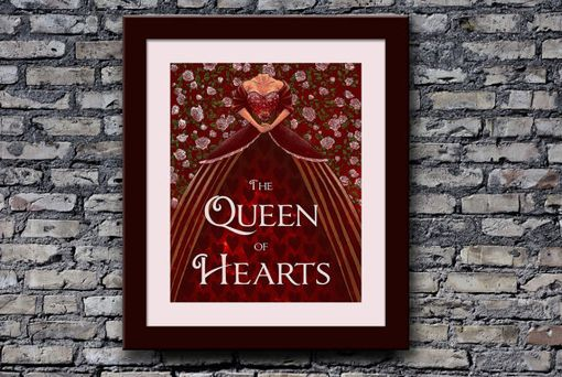 Custom Made Queen Of Hearts Illustration Print Alice In Wonderland