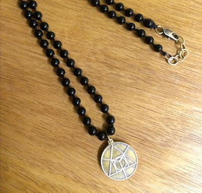 Custom Made Coin Pendant With Onyx Beaded Necklace