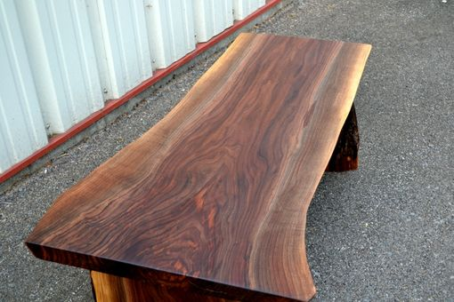 Custom Made Live Edge Walnut Bench With Shelf