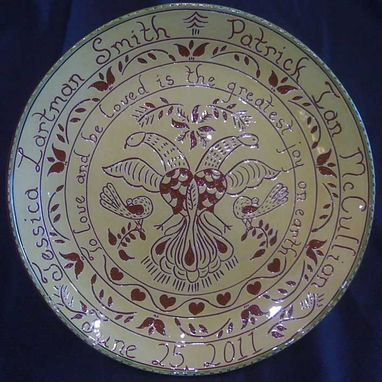Custom Made Redware Wedding/Anniversary Plate Decorated Using The Sgraffito Technique
