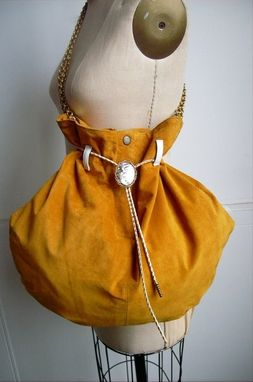 Custom Made Golden Suede Upcycled Hobo Bag