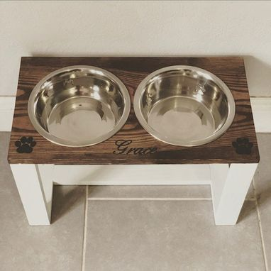 Custom Made Raised Dog Feeder With Text