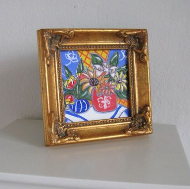 Custom Made Floral Acrylic Still Life Painting Miniature