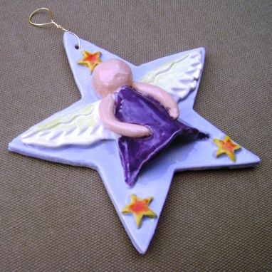 Custom Made Sale...Star Angel Ceramic Ornament 2, 25 Percent Off, Ready To Ship