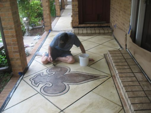 Custom Fleur De Lis Logo On Front Porch Entryway By