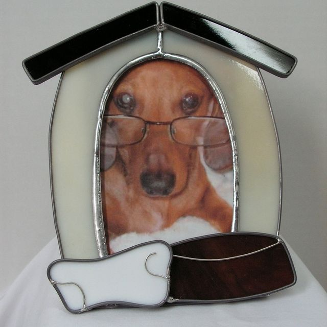 Custom Made Stained Glass Dog House Picture Frame By Serendipity