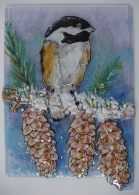 Custom Made Pine Tree And Chickadee - Glass Fusing Artwork