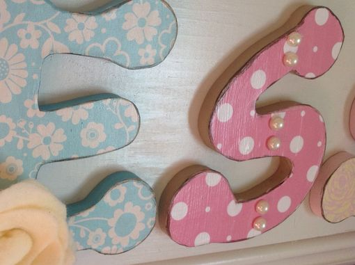 Custom Made Girls Nursery Wall Decor Art, Wood Letters Pink White Blue Flowers Hand Painted Sign