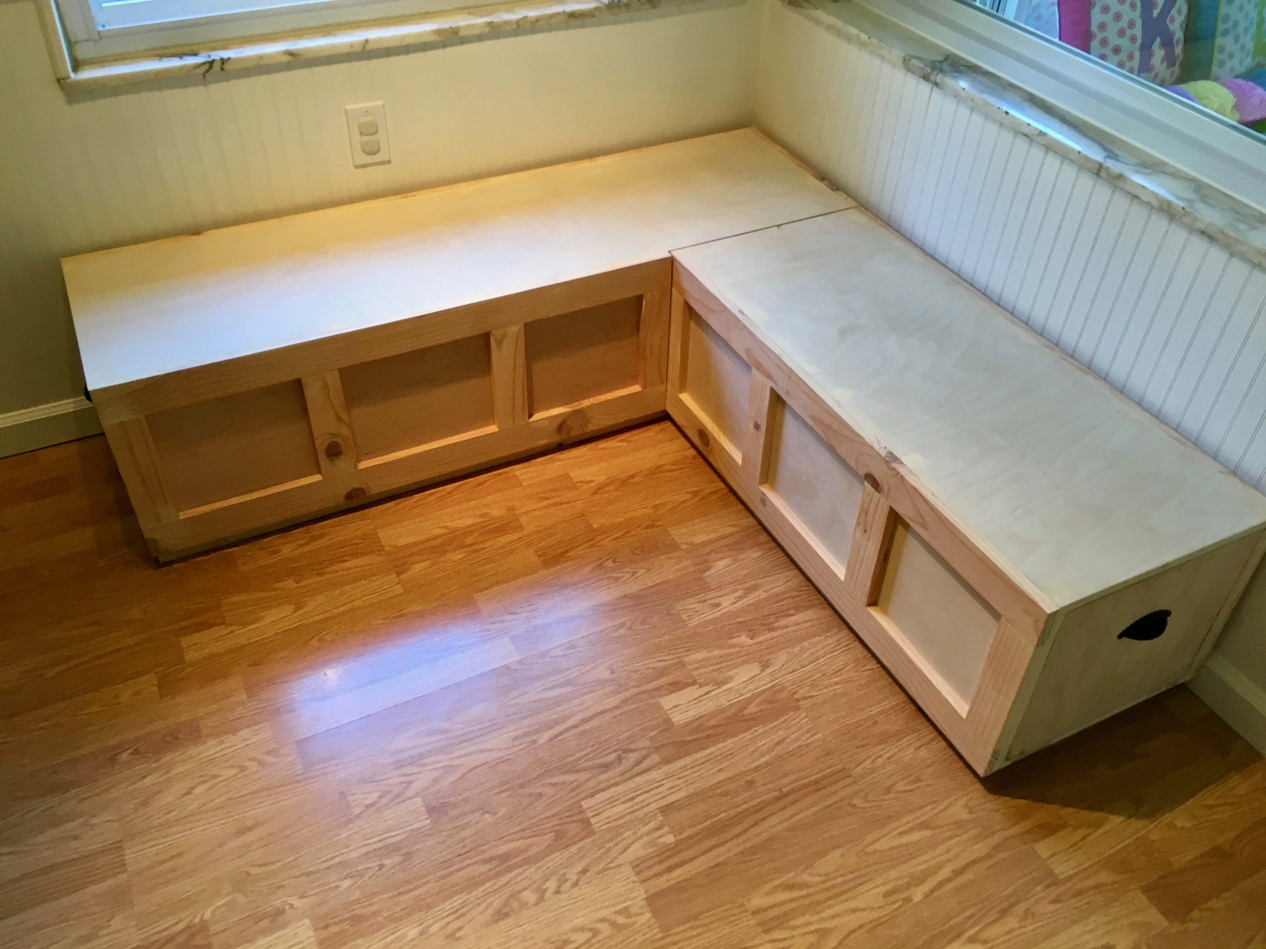 Custom Made Corner Window Bench With Drawer Storage Bare Wood Unfinished