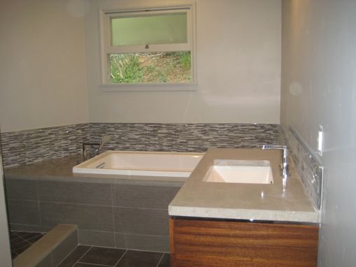 Custom Made Custom Bathroom W/ Zebrawood Vanity And Concrete Countertops